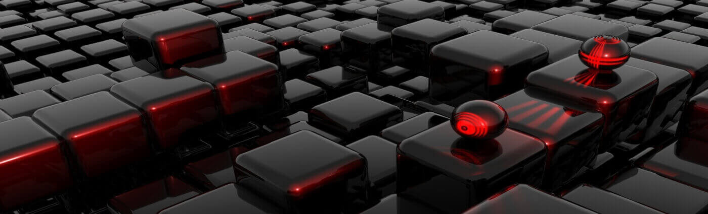 Dark mosaic with red accents